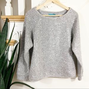 alice + olivia gray sequin knit blouse Small
